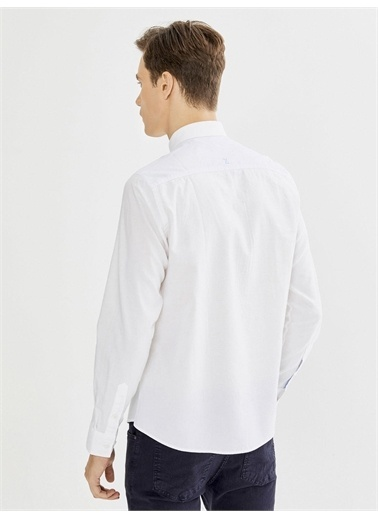 Xint XINT Cepli %100 Pamuk Slim Fit Gömlek Beyaz